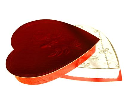 shaped: Picture of a red chocolate box, shaped as a heart, isolated over white with room for text Stock Photo