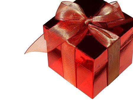 Imagen de una caja de chocolate de color rojo y rojo arco, aislado más de blanco