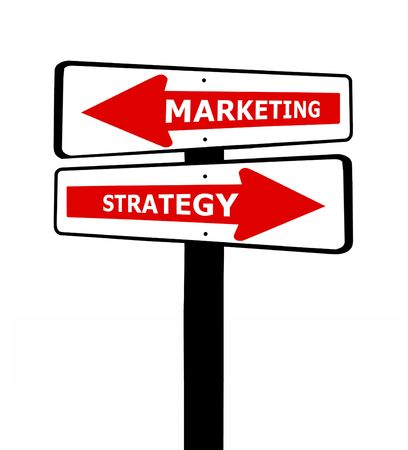 Graphic illustration of a marketing and strategy sign, isolated over white Imagens