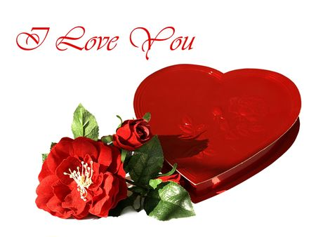 Photo of a heart shaped red box of chocolates with silk red roses and the text I love you in a DIFFERENT font