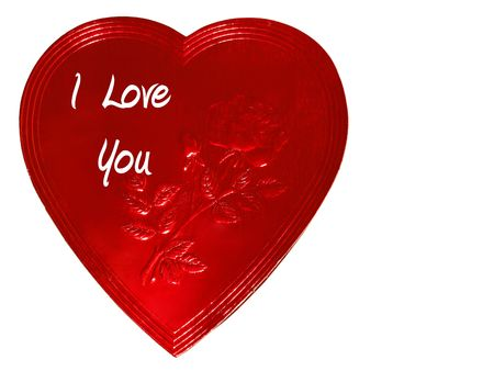 Picture of a red heart shaped chocolate candy for Valentines Day with text saying  photo