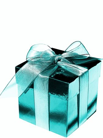Picture of a blue gift box with a bow, isolated over white photo