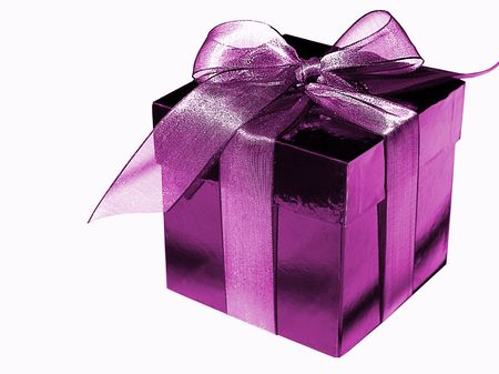 Picture of a purple mauve gift box of candies with a bow, isolated over white Foto de archivo