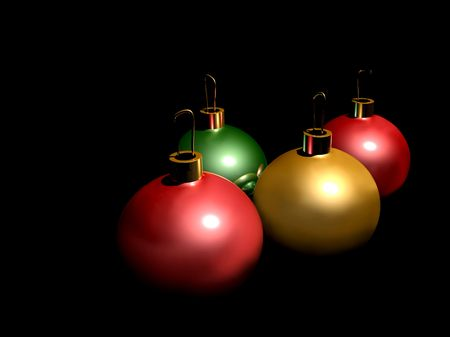 Graphic illustration of several colorful christmas ornaments isolated over black Stock Photo