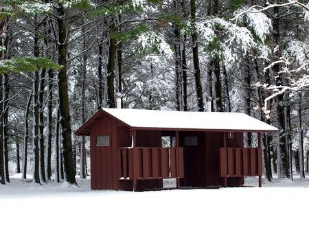 Picture of one of the several rural public restroom in the forest preserve, on a winter day Stock Photo - 5167203