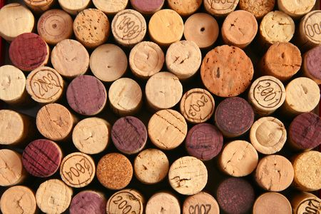 uncork: Background of corks ends Stock Photo