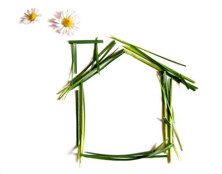 safe and sound: Ecological house made of grass and daisies instead of smoke, isolated on white Stock Photo