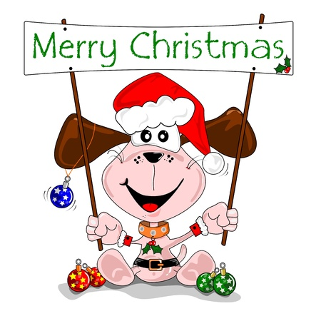 Merry Christmas cartoon with dog in a Santa Claus outfit Stock Vector - 10766413
