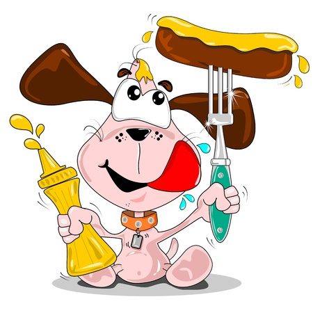 A cartoon dog with sausage & bottle of mustard