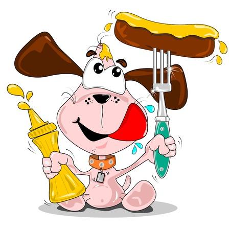 perro caliente: Un perro de dibujos animados con salchicha & frasco de mostaza