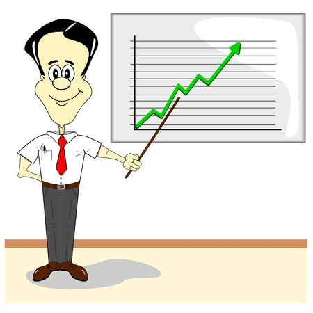 A cartoon businessman at business meeting with presentation board & graph