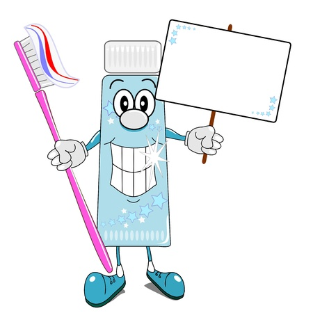 A cartoon illustration of toothpaste & toothbrush with billboard