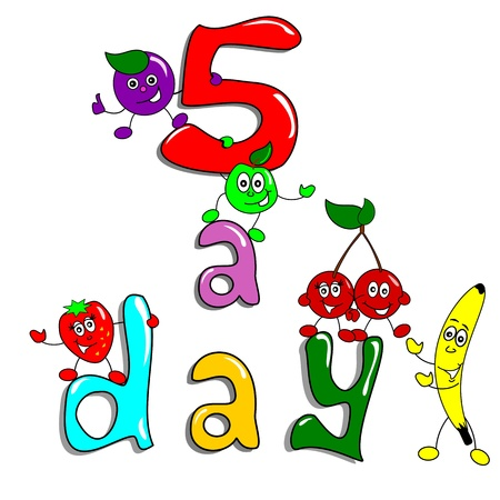 5 a day fruit cartoon illustration. Healthy eating concept