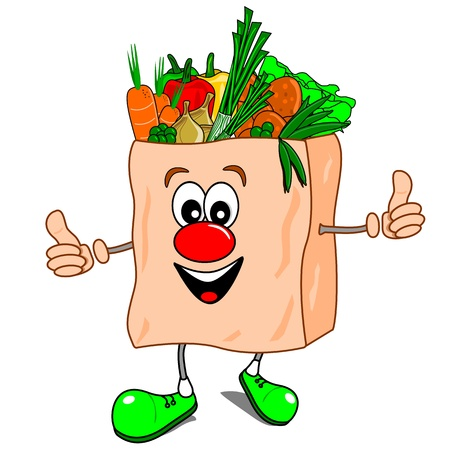 white paper bag: A cartoon shopping bag with vegetables