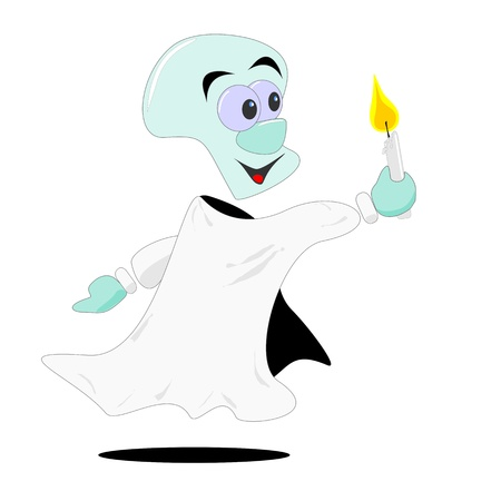 specter: A cartoon illustration of a ghost holding a candle Illustration