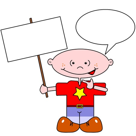 Cartoon boy with copy space in signpost & speech bubble Stock Vector - 10796677