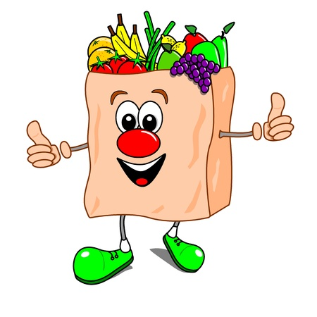 Cartoon illustration of a shopping bag with fruit and vegetables