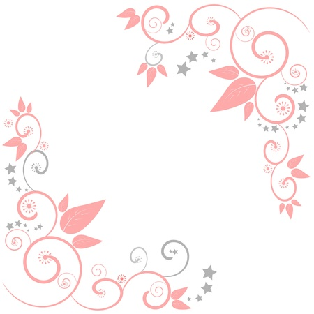 A floral border frame design with swirls & stars