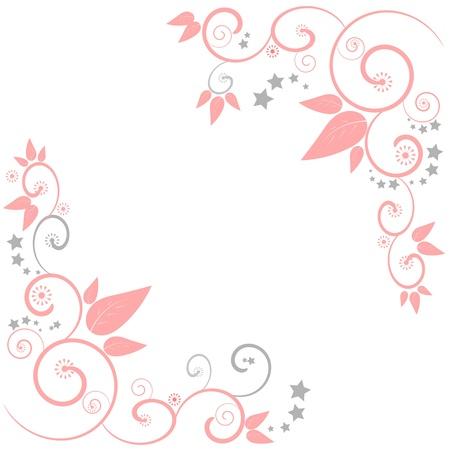 Una frontera floral diseño del chasis con remolinos y estrellas