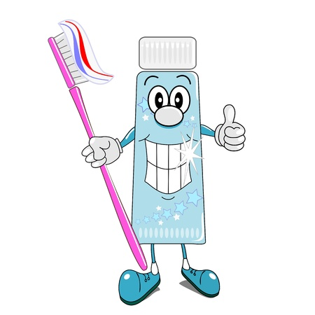 oral hygiene: A cartoon illustration of toothpaste & toothbrush with thumbs up