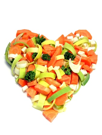 Fresh vegetables in a heart shape - health concept photo