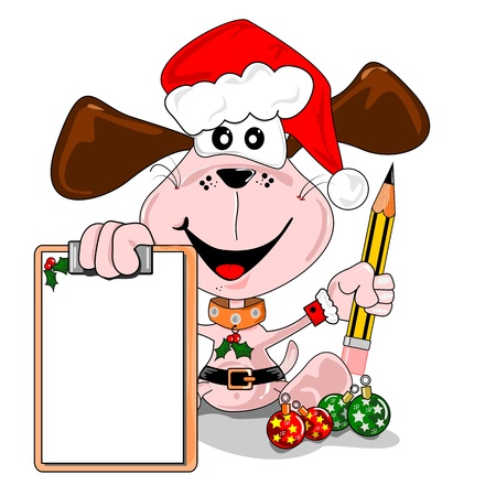 Cartoon dog with a blank Christmas wish list. Days to go.