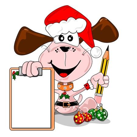 Cartoon dog with a blank Christmas wish list. Days to go.