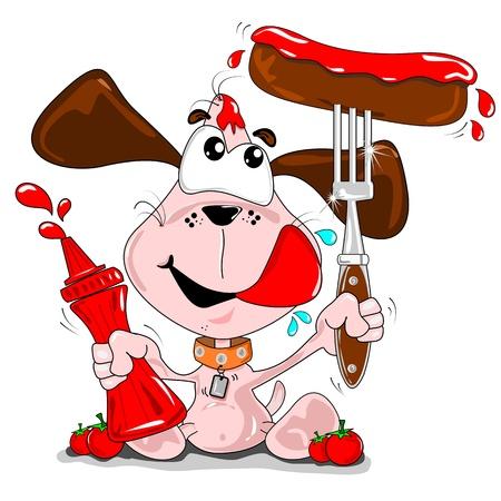 Un perro de la historieta con una salchicha y una botella de salsa de tomate ketchup