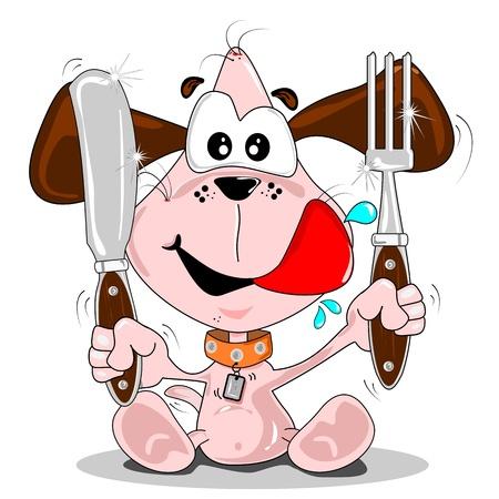 Perro cachorro de dibujos animados con cuchillo & horquilla. Concepto de tiempo de comida