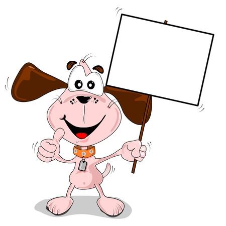 perro caricatura: Perro de dibujos animados con un cartel en cartel en blanco con copia espacio