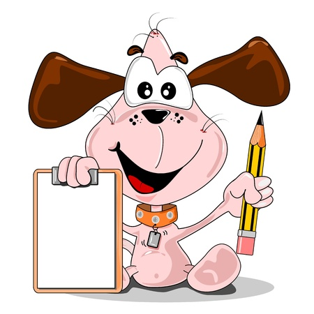 A cartoon dog holding a pencil & blank clip board with copy space