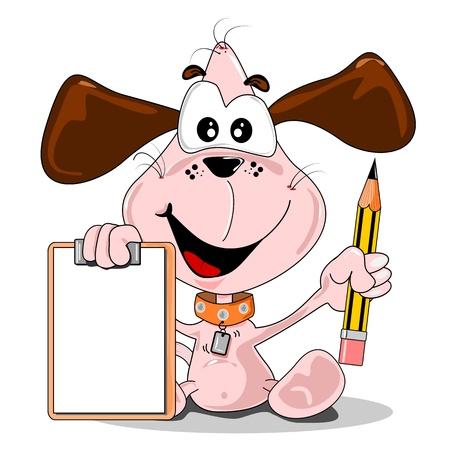 Een cartoon hond met een potlood en lege clip bord met een kopie ruimte
