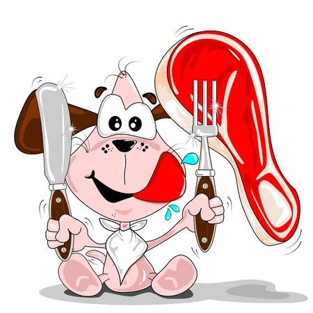 hambriento: Un perro de dibujos animados con un tenedor cuchillo steak & servilleta