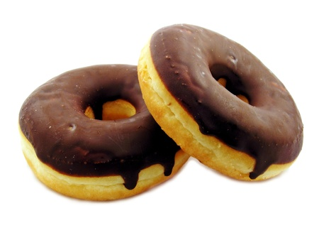 2 chocolate doughnuts on a white background photo