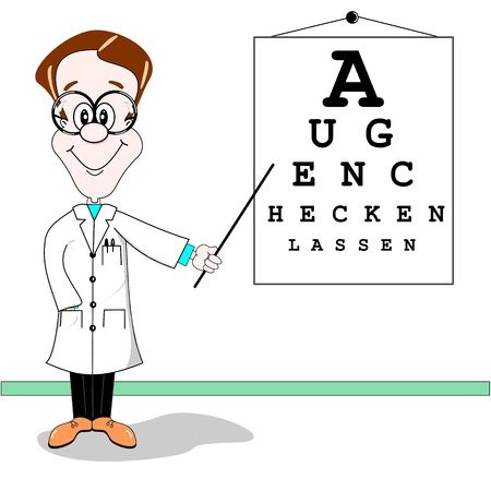 eye exam: Optician cartoon. Get your eyes checked written in German Illustration
