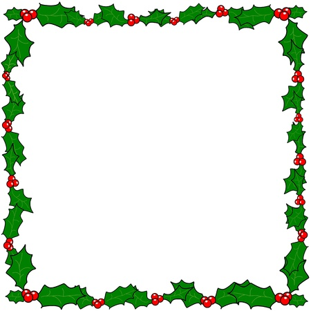 holly leaf: Christmas holly border frame vector with copy space