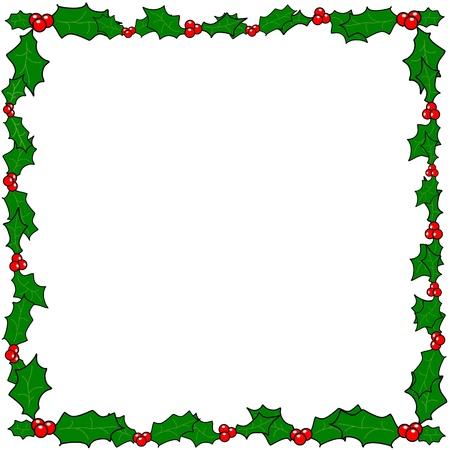 hulst: Kerst hulst grens frame vector met een kopie ruimte