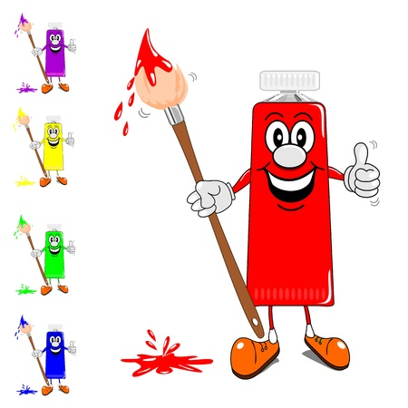 paint tube: Selection of smiling cartoon tubes of paint with brush