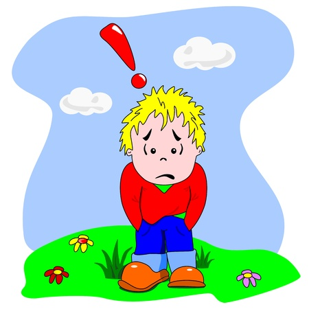 worry: A cartoon vector of a sad disappointed young boy
