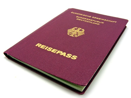 A German passport isolated on a white background photo