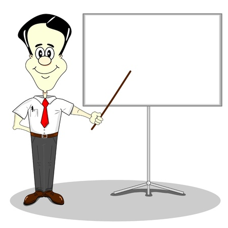 company board: Businessman at a blank presentation board with copy space