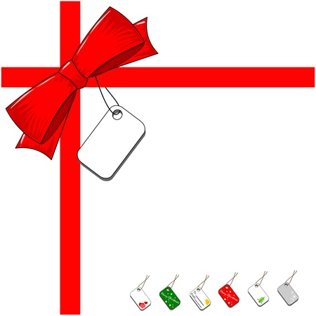 Red ribbon bow with a selection of blank gift labels Illustration