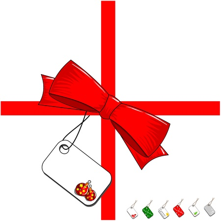 Red ribbon bow with a selection of blank gift labels Stock Vector - 10936622