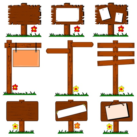 Collection of wooden signposts with copy space on a white background Vector