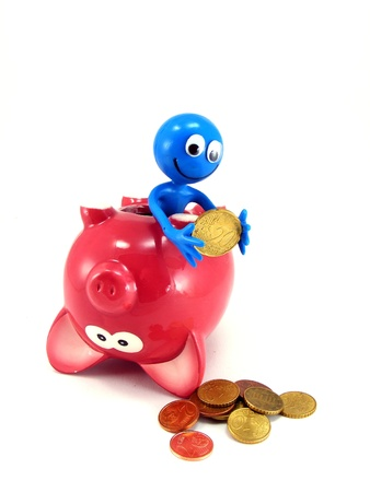 taken: Money being taken out of a piggy bank