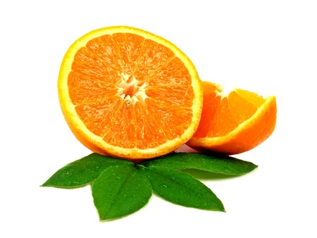 orange slices: 2 pieces of freshly cut orange on a white background