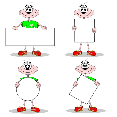 Blank billboard signs with copy space held by cartoon character Stock Vector - 11123442