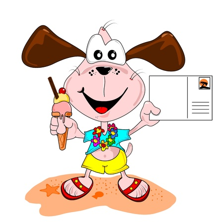 Cartoon dog on holiday vacation with blank postcard & ice cream Vector