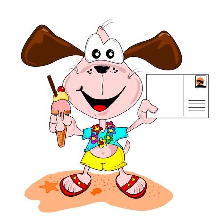 Cartoon dog on holiday vacation with blank postcard & ice cream Ilustracja