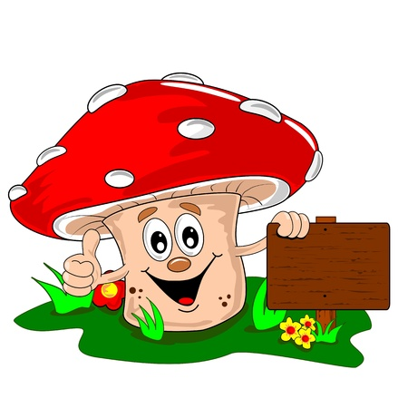 toadstool: A cartoon mushroom leaning on a blank wooden signpost Illustration